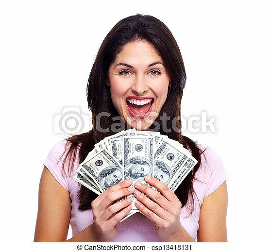 kvinna, pengar., lycklig - csp13418131