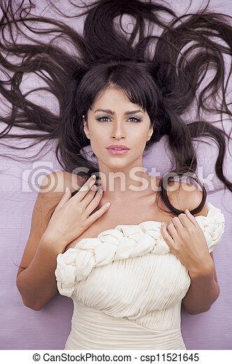 kvinna, sensuell, mode, brun, länge, hår, vacker - csp11521645