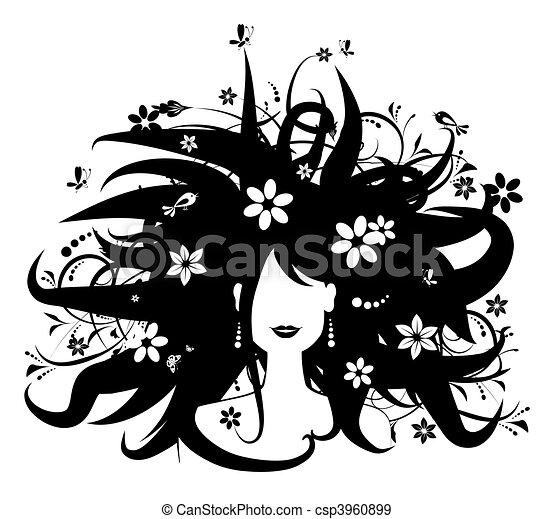 kvinna, silhuett, frisyr, design, blommig, din - csp3960899