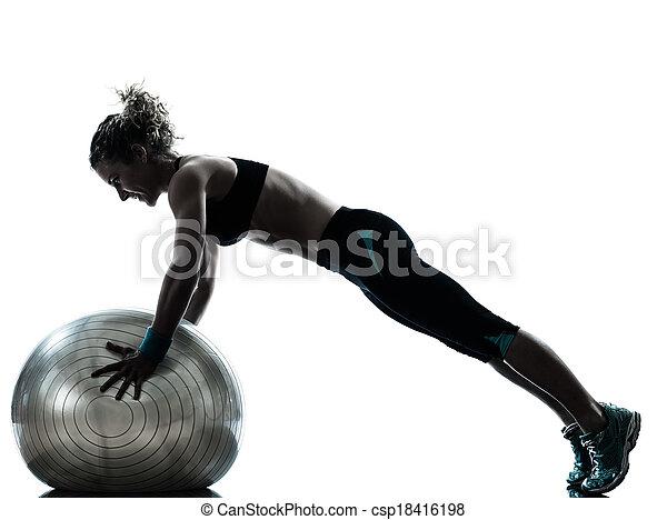 kvinna, silhuett, genomkörare, exercerande, boll, fitness - csp18416198