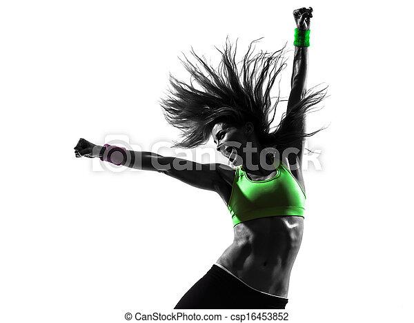 kvinna, silhuett, zumba, dansande, exercerande, fitness - csp16453852