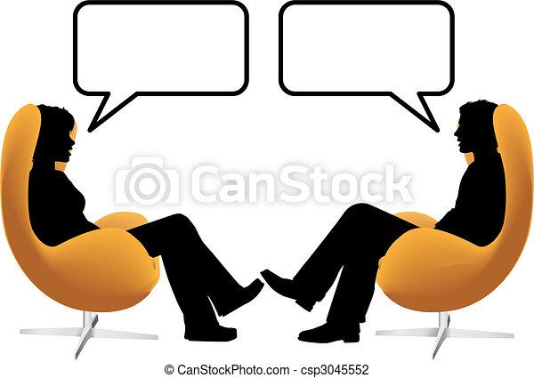 kvinna, sitta, stol, par, ägg, prata, man - csp3045552