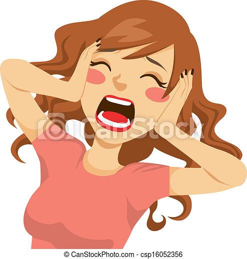 kvinna, skrika, desperat - csp16052356