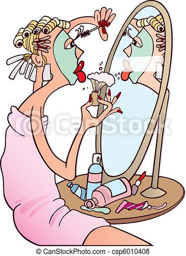 kvinna, smink - csp6010408