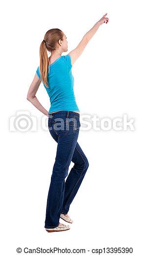 kvinna, synhåll, vandrande, baksida - csp13395390