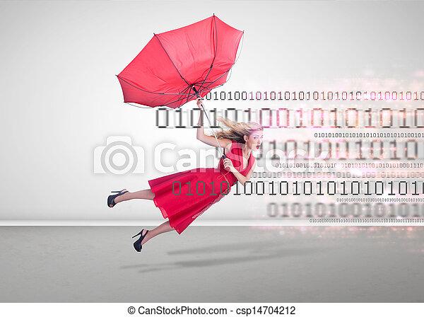 kvinna, tom, attraktiv, flygning, rum - csp14704212