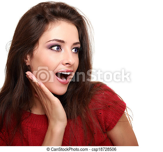 kvinna, utrymme, smink, isolerat, se, närbild, white., avskrift, snopen - csp18728506