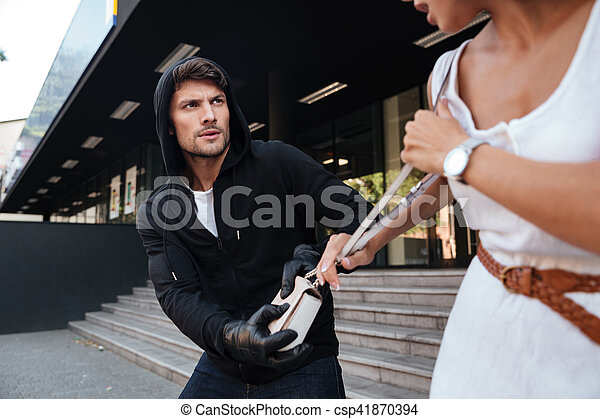 kvinna, väska, gata, stöld, brottsling, man - csp41870394