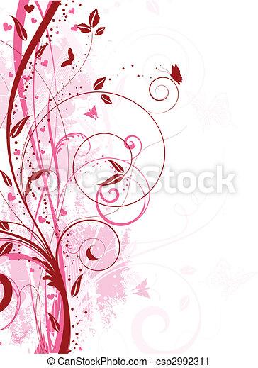 kwiatowy, grunge - csp2992311