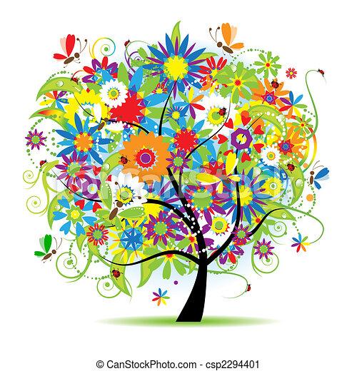 kwiatowy, piękny, drzewo - csp2294401