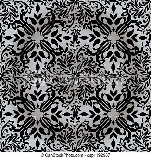 kwiatowy, powtarzać, srebro - csp1192987