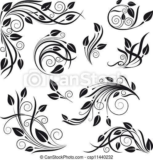 kwiatowy, wektor, wystawiany zamiar, elementy - csp11440232