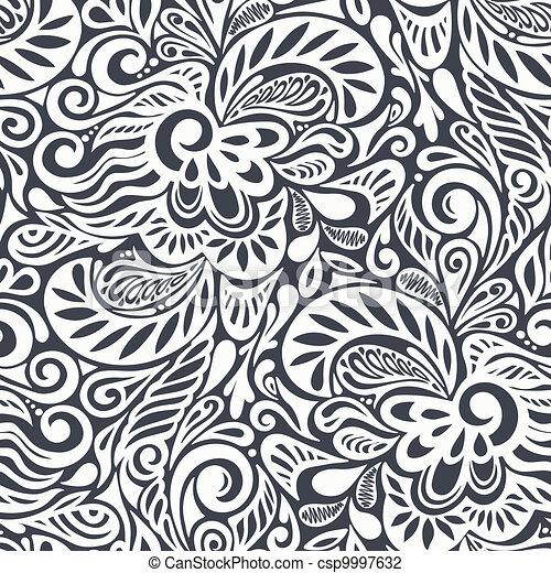 kwiatowy wzór, abstrakcyjny, seamless, kędzierzawy - csp9997632