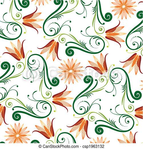 kwiatowy wzór, białe tło - csp1963132