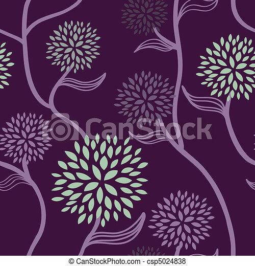 kwiatowy wzór, purpurowy, zielony - csp5024838