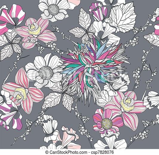 kwiatowy wzór, seamless, retro - csp7828076