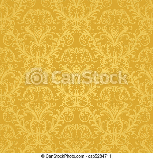 kwiatowy, złoty, tapeta, luksus - csp5284711