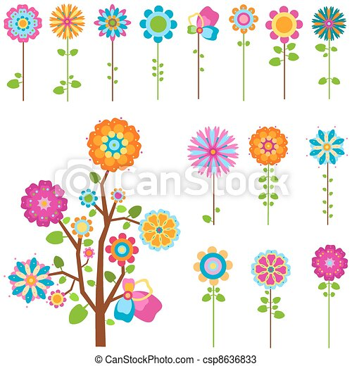 kwiaty, komplet, retro - csp8636833