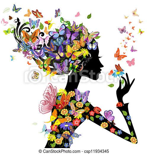 kwiaty, motyle, fason, dziewczyna - csp11934345