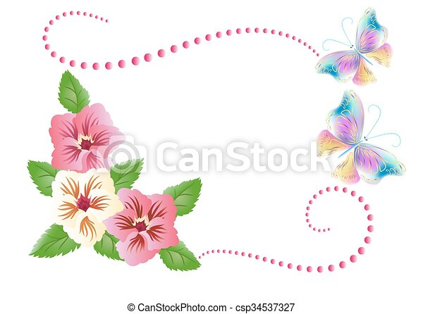 kwiaty, motyle, ozdoba - csp34537327