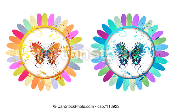 kwiaty, motyle - csp7118923