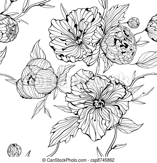 kwiaty, seamless, tło - csp8745862