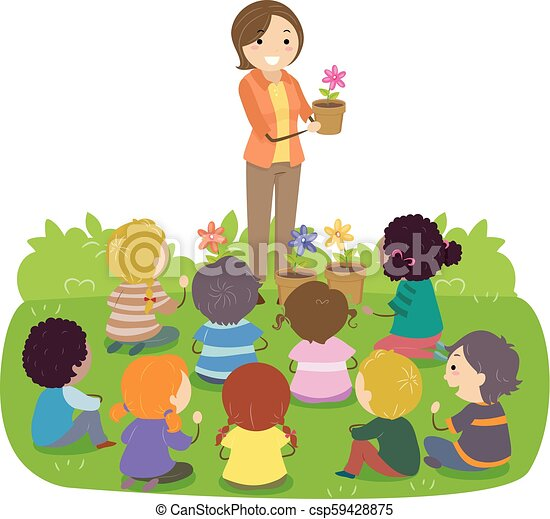 kwiaty, stickman, nauczyciel, ilustracja, dzieciaki - csp59428875