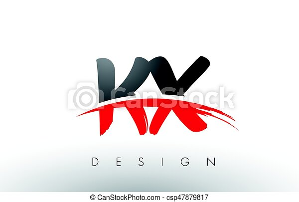 kx k x brush logo letters with red and black swoosh brush front kx rh canstockphoto com