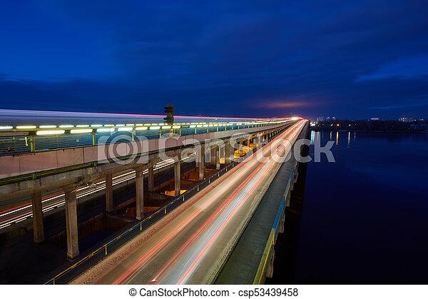 Kyiv Metro bridge in the evening - csp53439458