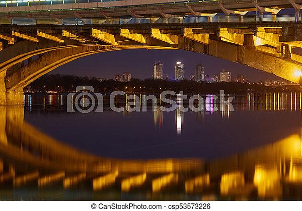 Kyiv Metro bridge in the evening - csp53573226