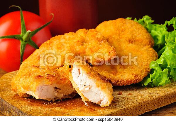 kylling, closeup, guldklumper - csp15843940