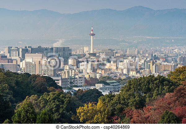 Kyoto City with autumn season in Japan view from Kiyomizu Temple. - csp40264869
