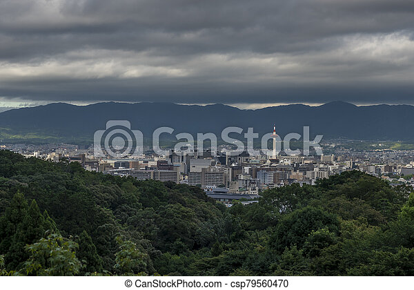 Kyoto City with summer season in Japan view from Kiyomizu Temple, with the Kyoto tower in view - csp79560470