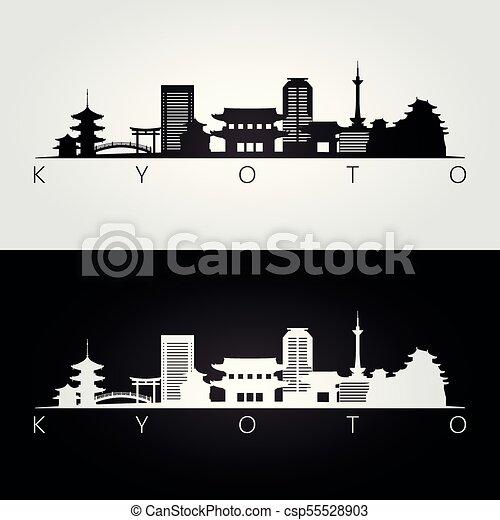 El horizonte de Kyoto y las siluetas - csp55528903