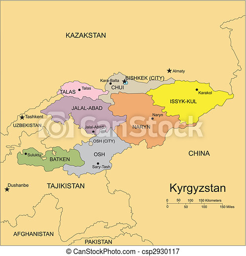Kyrgystan, administrative districts, capitals and surrounding ...