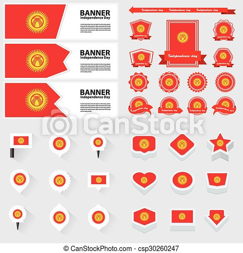 Kyrgyzstan independence day, infographic, and label Set. - csp30260247