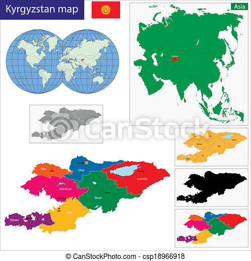 Kyrgyzstan map. Map of administrative divisions of kyrgyzstan.