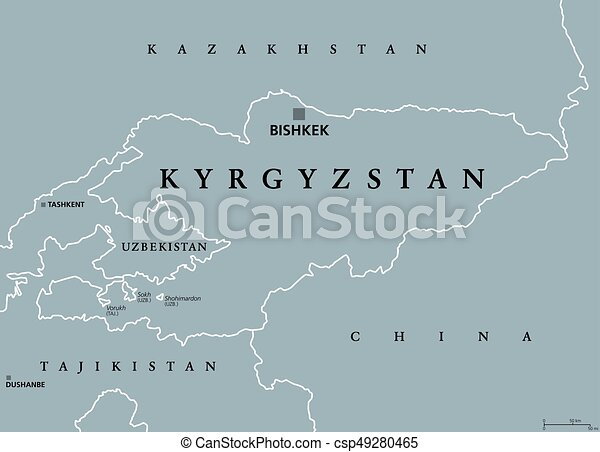 Kyrgyzstan political map with capital bishkek and borders clip