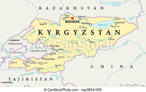 Kyrgyzstan political map. Kyrgyzstan political map with capital ...