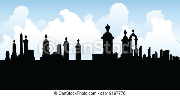 kyrkogård, gravstenar - csp19197778