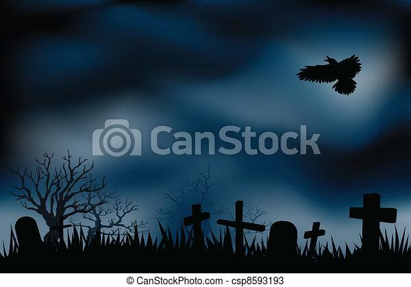 kyrkogård, kyrkogårdar, eller, natt - csp8593193