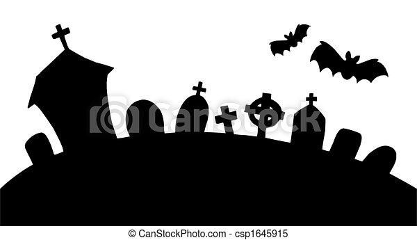 kyrkogård, silhuett - csp1645915
