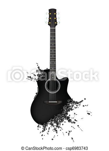 Kytara Elektricky Likvidni Noticky Osamoceny Kytara Graficke