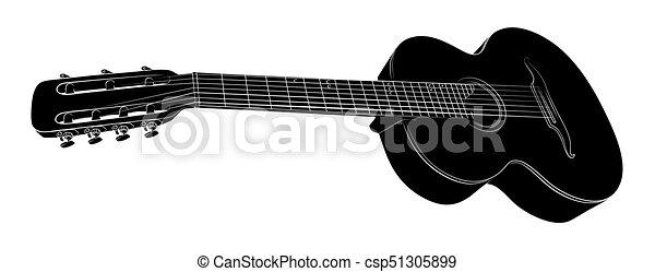 Kytara Sketch Skica Guitar Klasicky Druh