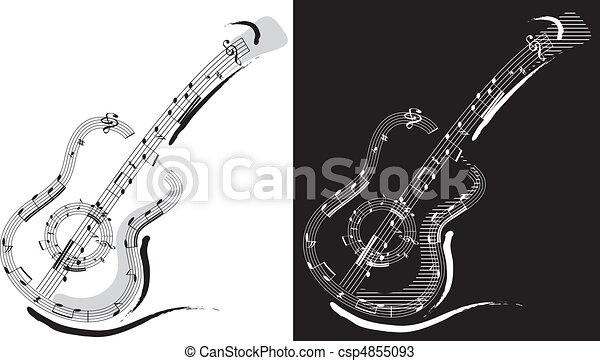 Kytara Symbol Symbol Graficke Pozadi Osamoceny Kytara Cern