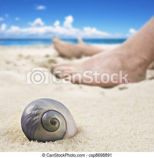 lábak, nő, tengerpart, fekvő, ember - csp8698891