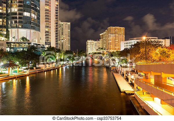 lábfej, florida, usa, belvárosi, lauderdale, új, folyó, éjszaka - csp33753754