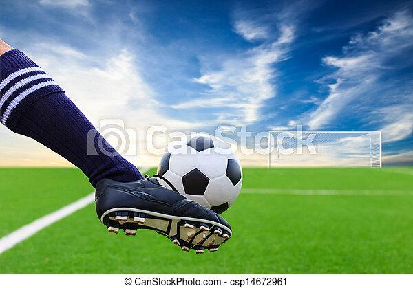 lábfej, rúgás, focilabda - csp14672961