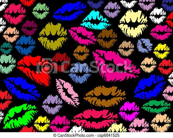 lábios, impressões, coloridos - csp6841525