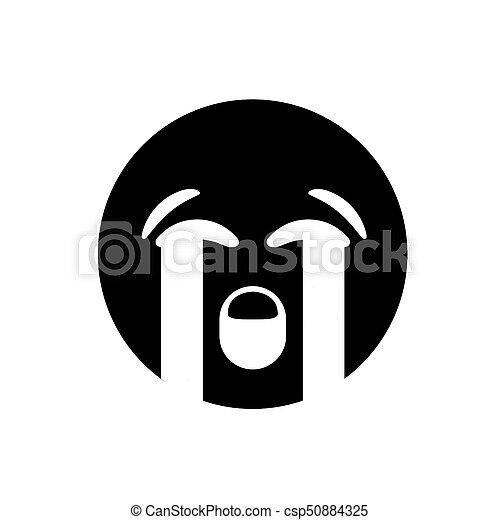 Lágrima Triste Emoji Negro Llanto Cara Icono